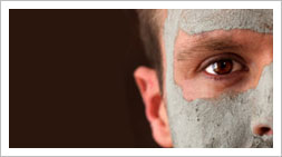 face mask, mud packs and facial masks suitable for men to clean moisturise and exfoliate the skin